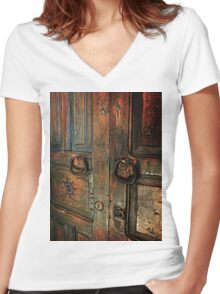 Door of Many Colors Women's Fitted V-Neck T-Shirt