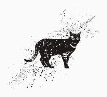 Black cat cartoon art Kids Tee