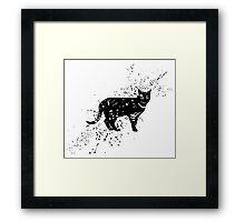 Black cat cartoon art Framed Print