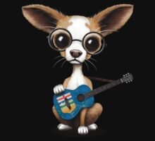 Cute Chihuahua Playing Alberta Flag Guitar One Piece - Short Sleeve