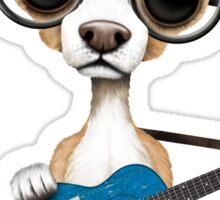 Cute Chihuahua Playing Alberta Flag Guitar Sticker