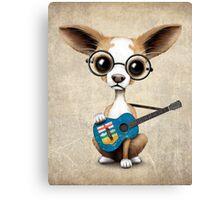 Cute Chihuahua Playing Alberta Flag Guitar Canvas Print