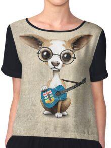 Cute Chihuahua Playing Alberta Flag Guitar Chiffon Top