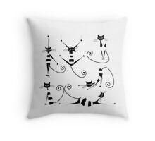 Amusing black cat design Throw Pillow