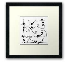 Amusing black cat design Framed Print