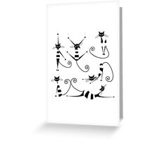 Amusing black cat design Greeting Card