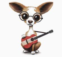 Cute Chihuahua Playing Austrian Flag Guitar One Piece - Long Sleeve