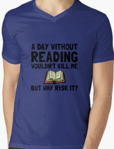 Risk It Reading Mens V-Neck T-Shirt