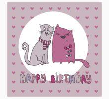 Cat happy birthday card One Piece - Long Sleeve