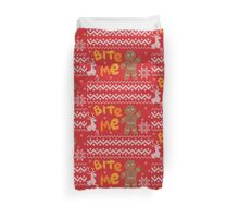 Ugly Christmas Sweater: Bite Me Gingerbread Man  Duvet Cover