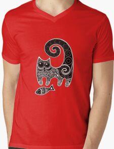 Funny floral pattern cats Mens V-Neck T-Shirt