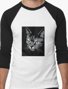 Black cat cartoon silhouetteCat silhouette cat silhouette Men's Baseball ¾ T-Shirt