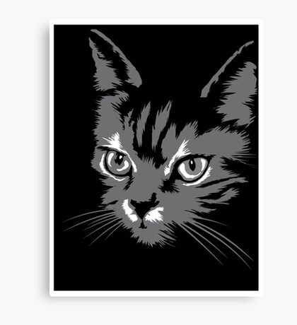 Black cat cartoon silhouetteCat silhouette cat silhouette Canvas Print