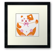 Fat cat sitting art Framed Print