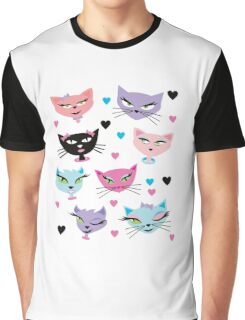 Cute cartoon cats card Graphic T-Shirt