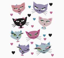 Cute cartoon cats card One Piece - Short Sleeve