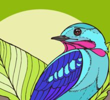 Blue tropical bird in green leaves print Sticker