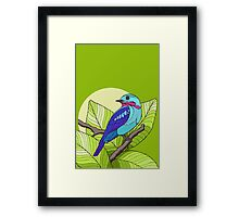 Blue tropical bird in green leaves print Framed Print