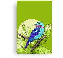 Blue tropical bird in green leaves print Canvas Print