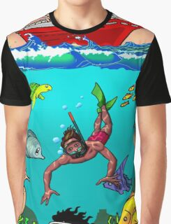 Diver Cartoon Graphic T-Shirt