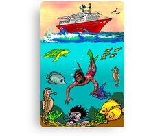 Diver Cartoon Canvas Print