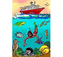 Diver Cartoon Photographic Print