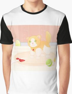 Cat playing in home Graphic T-Shirt