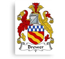Brewer Coat of Arms / Brewer Family Crest Canvas Print