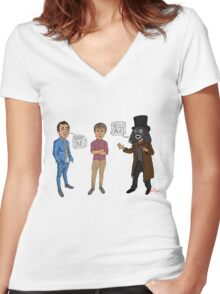 Only Fools & Horses / League of Gentlemen Mashup! Rodney, Trigger & Papa Lazarou Women's Fitted V-Neck T-Shirt