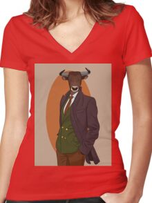 Retro Bull man. Antropomorphic print Women's Fitted V-Neck T-Shirt