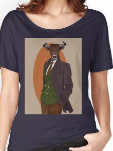 Retro Bull man. Antropomorphic print Women's Relaxed Fit T-Shirt