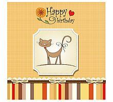 Happy birthday cute cat cartoon label Photographic Print