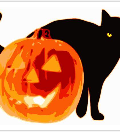 Cat jack o lantern Sticker