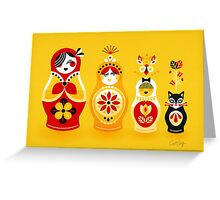 Russian Nesting Dolls – Yellow & Red Greeting Card