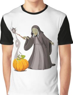 Old lady witch with pumpkin doing magician Graphic T-Shirt