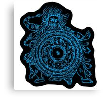 TamDin Buddhist Protective Charm sky blue on black Canvas Print