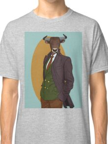 Retro Bull man. Vector hipster illustration. Antropomorphic print Classic T-Shirt