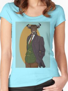 Retro Bull man. Vector hipster illustration. Antropomorphic print Women's Fitted Scoop T-Shirt