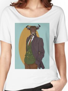 Retro Bull man. Vector hipster illustration. Antropomorphic print Women's Relaxed Fit T-Shirt