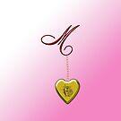 M Golden Heart Locket by Chere Lei