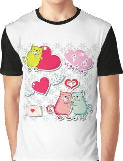 Cartoon cats card Graphic T-Shirt