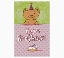 Happy birthday cat design card One Piece - Long Sleeve