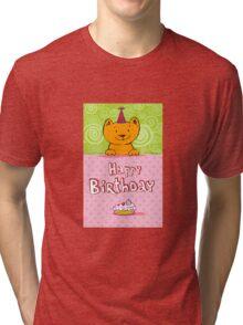 Happy birthday cat design card Tri-blend T-Shirt