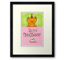 Happy birthday cat design card Framed Print