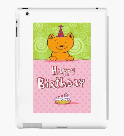Happy birthday cat design card iPad Case/Skin