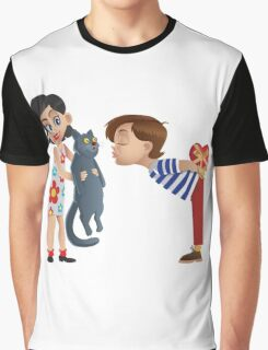 Valentine kiss cat Graphic T-Shirt