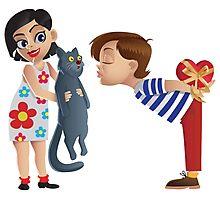 Valentine kiss cat Photographic Print
