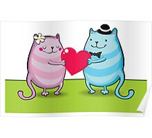 Valentine cats Poster