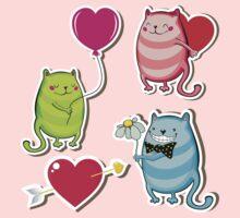 Cartoon cat valentine illustrator One Piece - Long Sleeve