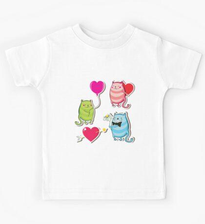 Cartoon cat valentine illustrator Kids Tee